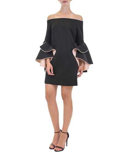 Addison Cold-Shoulder Flounce-Sleeve Short Dress