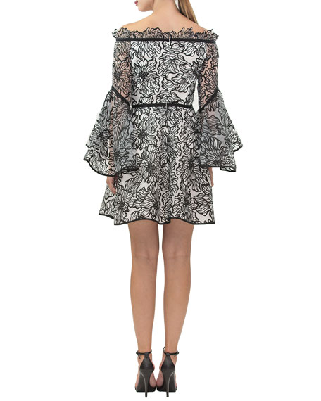 Nha Khanh Prima Floral Embroidered Off-the-Shoulder Ruffle-Sleeve Dress