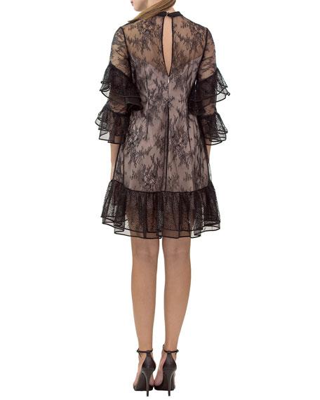Nha Khanh Irina Lace 3/4-Sleeve Tiered Ruffle Dress