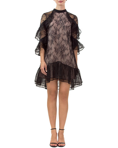 Irina Lace 3/4-Sleeve Tiered Ruffle Dress