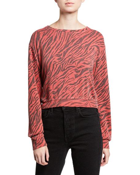 Sundry Zebra Blouson Cropped Sweatshirt