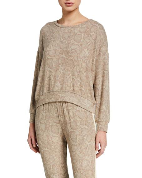 Sundry Snake-Print Drapey Crewneck Sweater