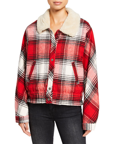 Splendid Eastwood Plaid Jacket with Sherpa Collar