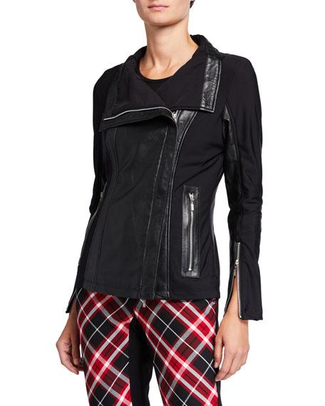 Anatomie Kristina High-Neck Leather Mixed Jacket