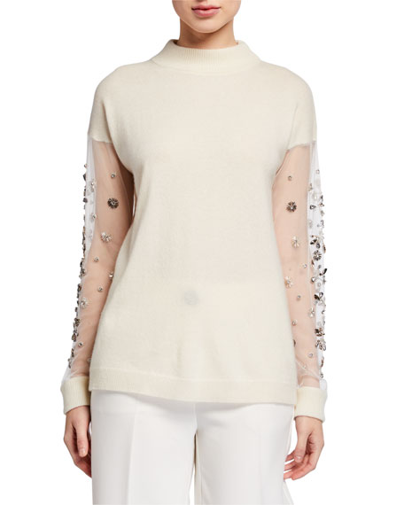Neiman Marcus Cashmere Collection Cashmere Mock Neck Embellished Mesh Sleeve Sweater
