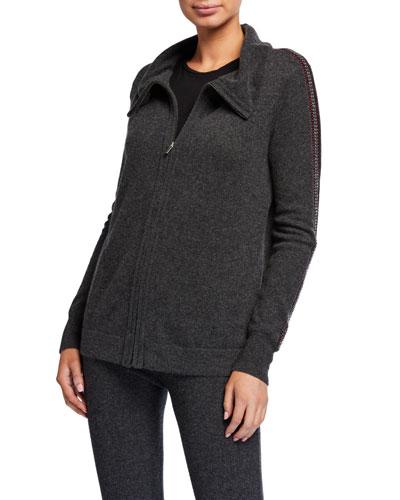 Cashmere Embroidered Stripe Zip-Up Jacket