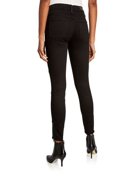 Etienne Marcel Panel Studded Ankle-Zip Skinny Jeans