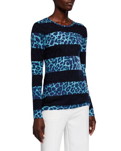 Superfine Leopard Stripe Crewneck Sweater
