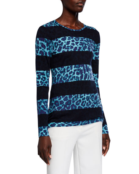Neiman Marcus Cashmere Collection Superfine Leopard Stripe Crewneck Sweater