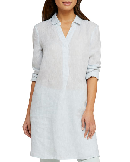 NIC+ZOE Spring Time Long-Sleeve Linen Tunic Dress