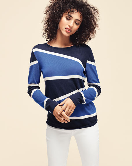Image 2 of 4: Neiman Marcus Cashmere Collection Superfine Variegated Stripe Crewneck Long-Sleeve Sweater