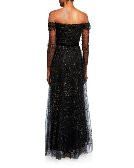 Marchesa Notte Glitter Tulle Off-the-Shoulder Gown with Ribbon Waist Trim