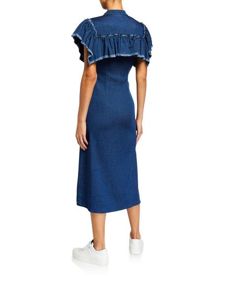 Ksenia Schnaider Yoked Ruffle Denim Midi Dress