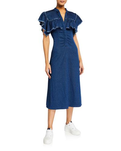 Yoked Ruffle Denim Midi Dress