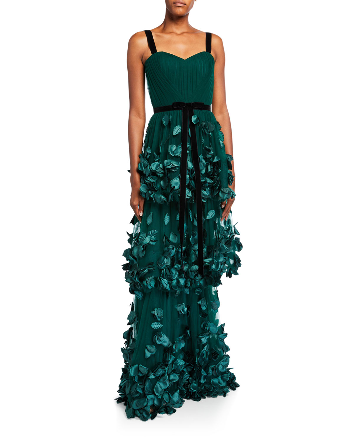 sleeveless-three-tiered-column-gown-with-3d-flowers by marchesa-notte