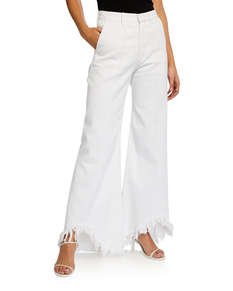 Ksenia Schnaider Wide-Leg Jeans with Shredded Hem
