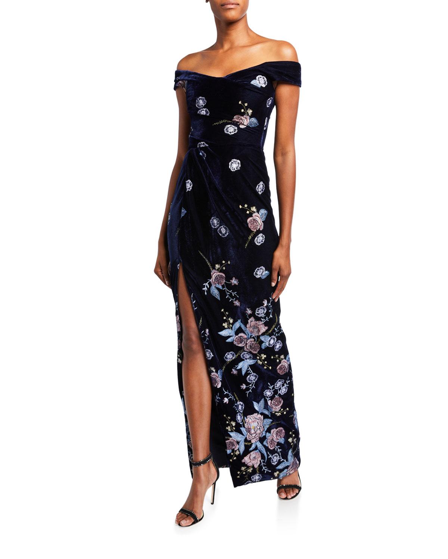 Marchesa Notte Off-the-Shoulder Floral Embroidered Velvet Gown with Slit