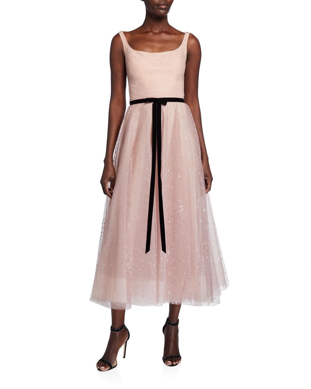 sleeveless-glitter-tulle-tea-length-dress by marchesa-notte