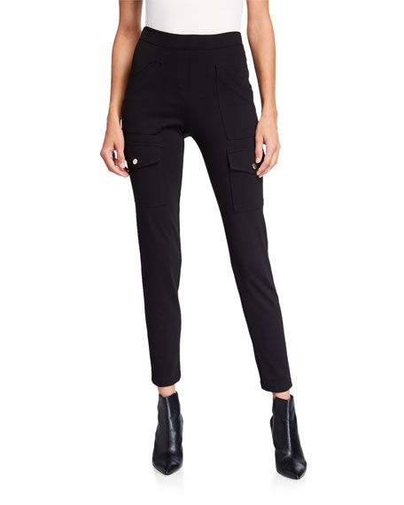 Anatomie Jenny Slim Pull-On Ponte Pants with Cargo Details