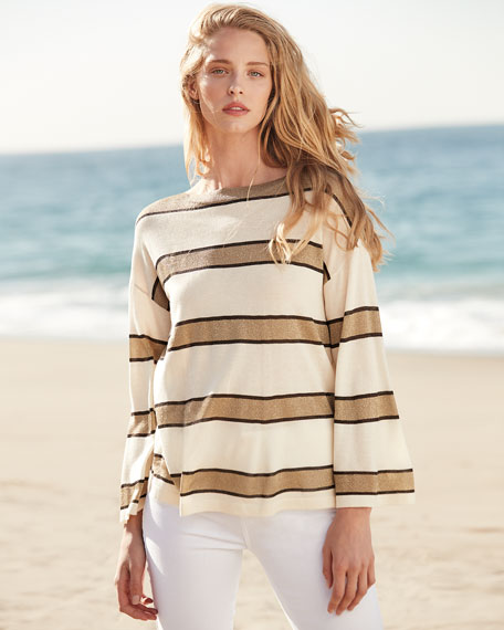 Image 2 of 3: Superfine Cashmere Metallic Striped Boat-Neck Pullover Sweater