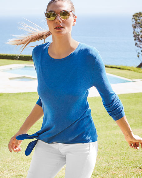 Image 2 of 4: Neiman Marcus Cashmere Collection Super Fine Silk/Cashmere Crewneck Side-Tie Long-Sleeve Sweater