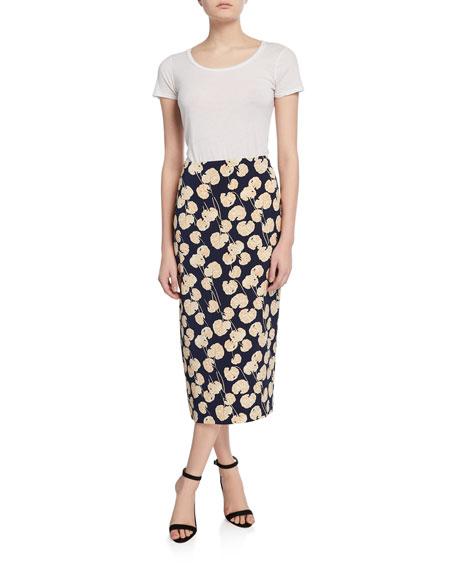 Diane von Furstenberg Tailored Midi Pencil Silk-Blend Skirt