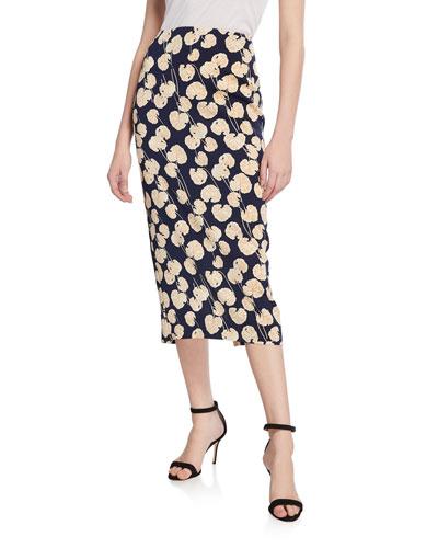 Tailored Midi Pencil Silk-Blend Skirt