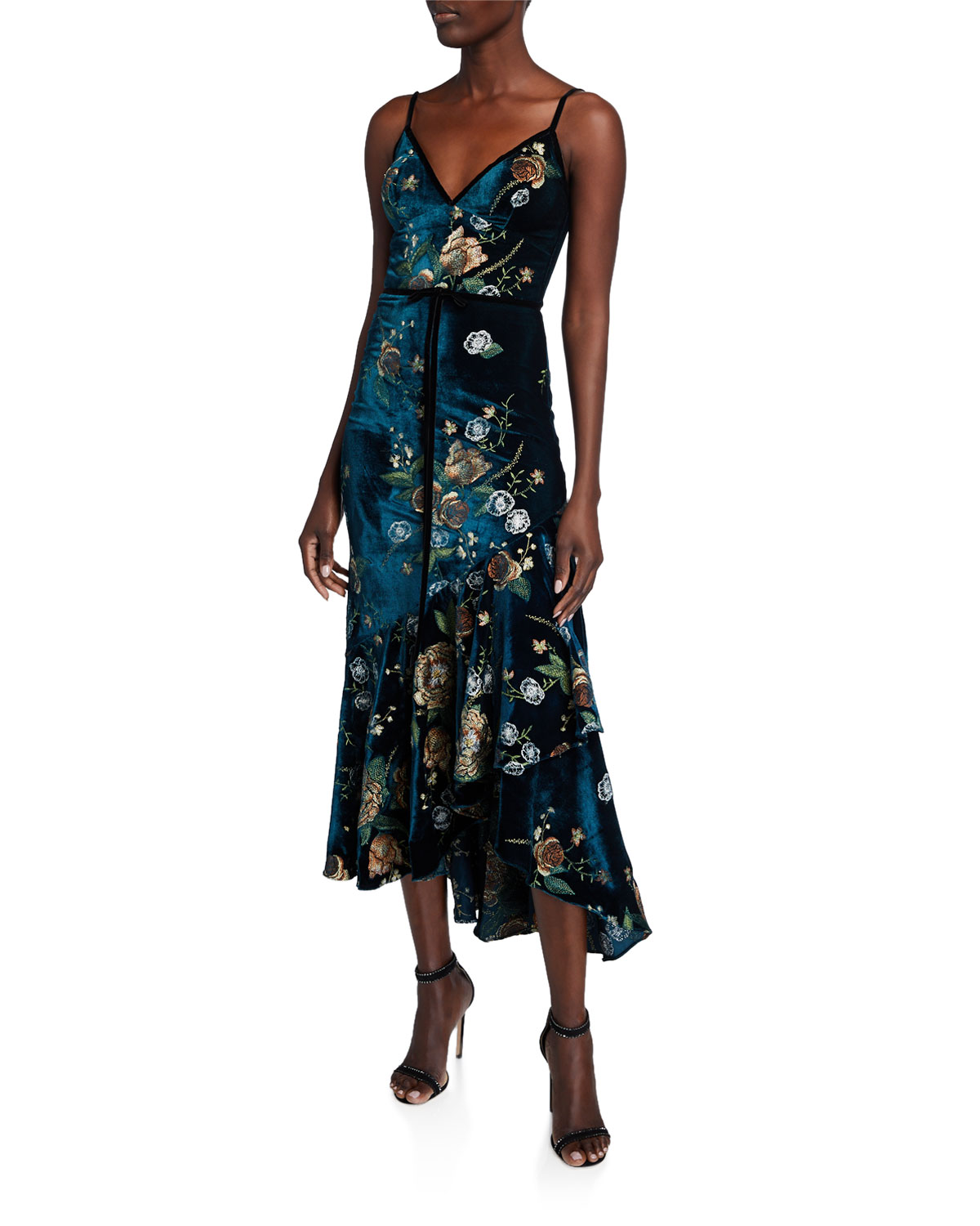 embroidered-high-low-sleeveless-velvet-cocktail-dress-w_-cascading-hem by marchesa-notte