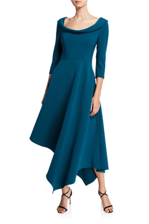 Kay Unger New York Arianna Boat-Neck 3/4-Sleeve Asymmetric Midi Dress