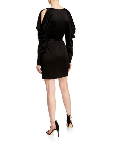 Jonathan Simkhai Open-Sleeve Woven Belted Mini Dress