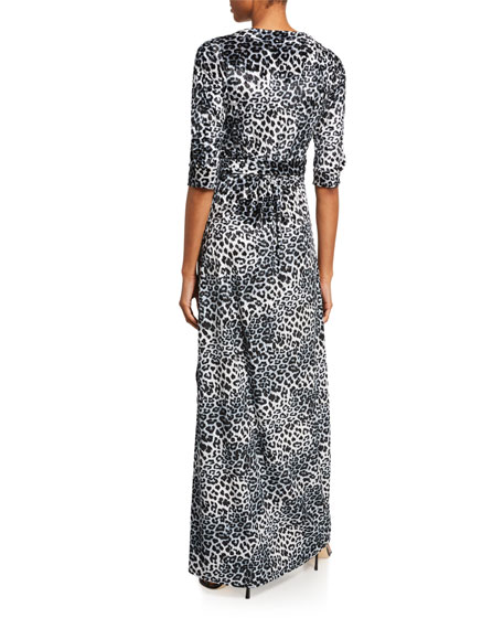 Image 2 of 2: Melissa Masse Plus Size Leopard Crushed Knit Velvet Long Wrap Dress