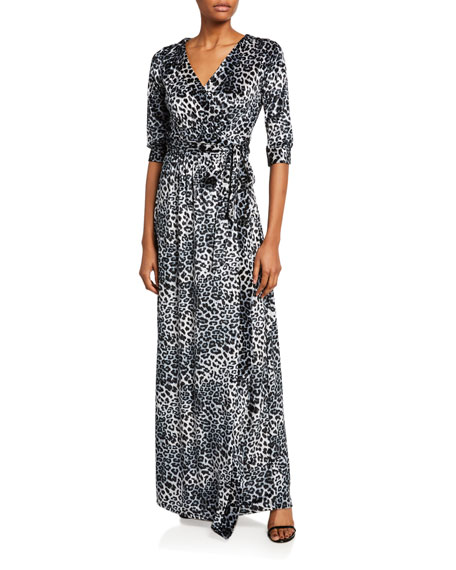 Image 1 of 2: Melissa Masse Plus Size Leopard Crushed Knit Velvet Long Wrap Dress