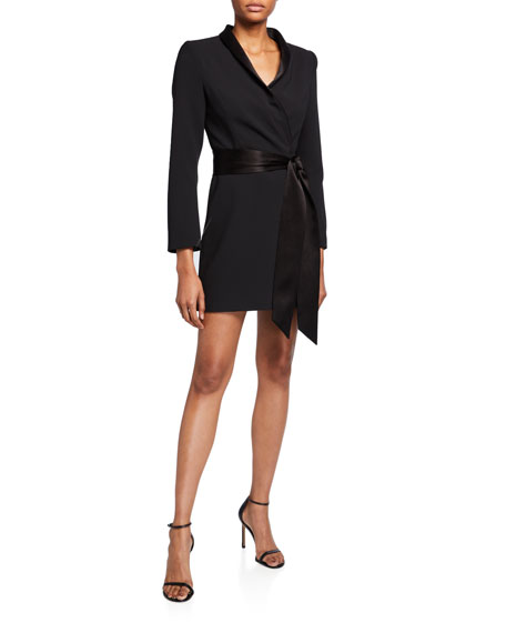 Mona Strong Shoulder Tie Front Suit Dress by Alice + Olivia