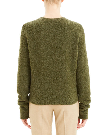 Theory Shrunken Camel Boucle Sweater
