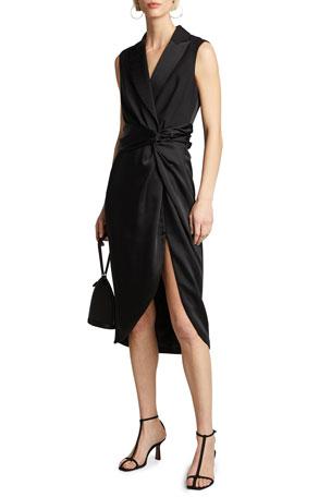 Jonathan Simkhai Luxe Wool Satin Combo Twist Dress