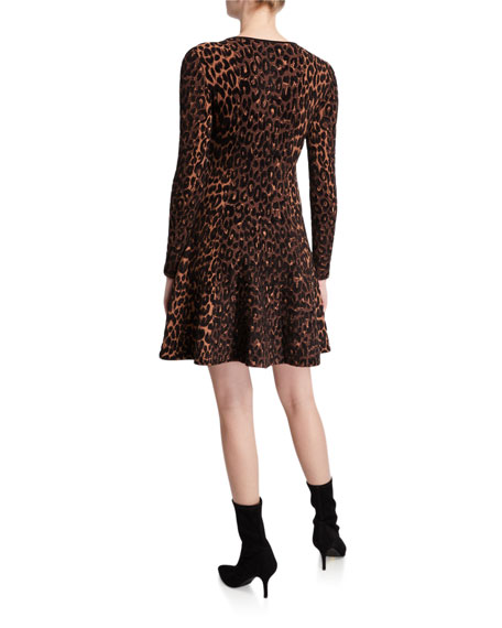 Image 2 of 2: Milly Textured Cheetah Long-Sleeve Fit-&-Flare Dress