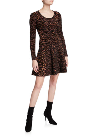 Milly Textured Cheetah Long-Sleeve Fit-&-Flare Dress