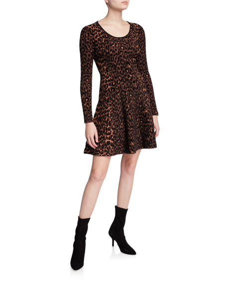 Image 1 of 2: Milly Textured Cheetah Long-Sleeve Fit-&-Flare Dress