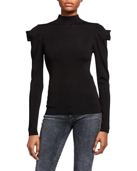 Alice + Olivia Cece Dramatic Puff-Sleeve Turtleneck Sweater
