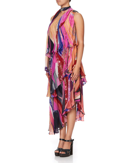 Image 2 of 3: Camilla Asymmetric Tie-Neck Silk Dress