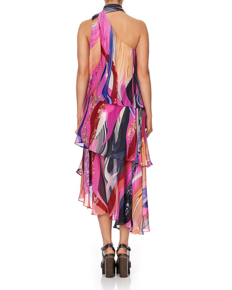 Image 3 of 3: Camilla Asymmetric Tie-Neck Silk Dress
