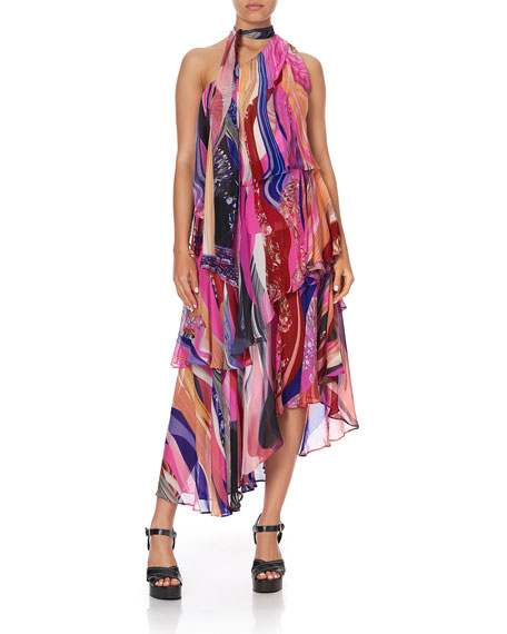 Image 1 of 3: Camilla Asymmetric Tie-Neck Silk Dress