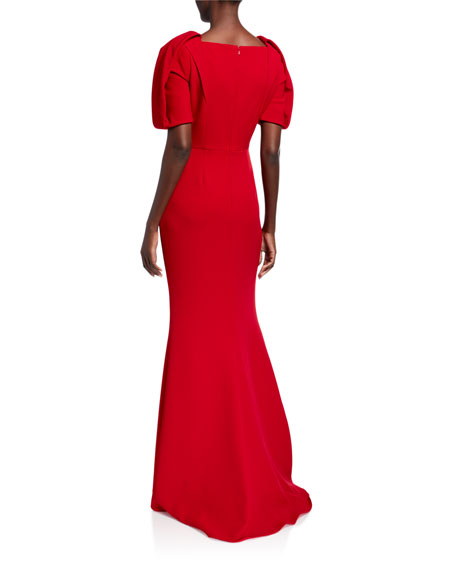 Image 2 of 2: Badgley Mischka Collection Puff-Sleeve Sweetheart-Neck Mermaid Gown