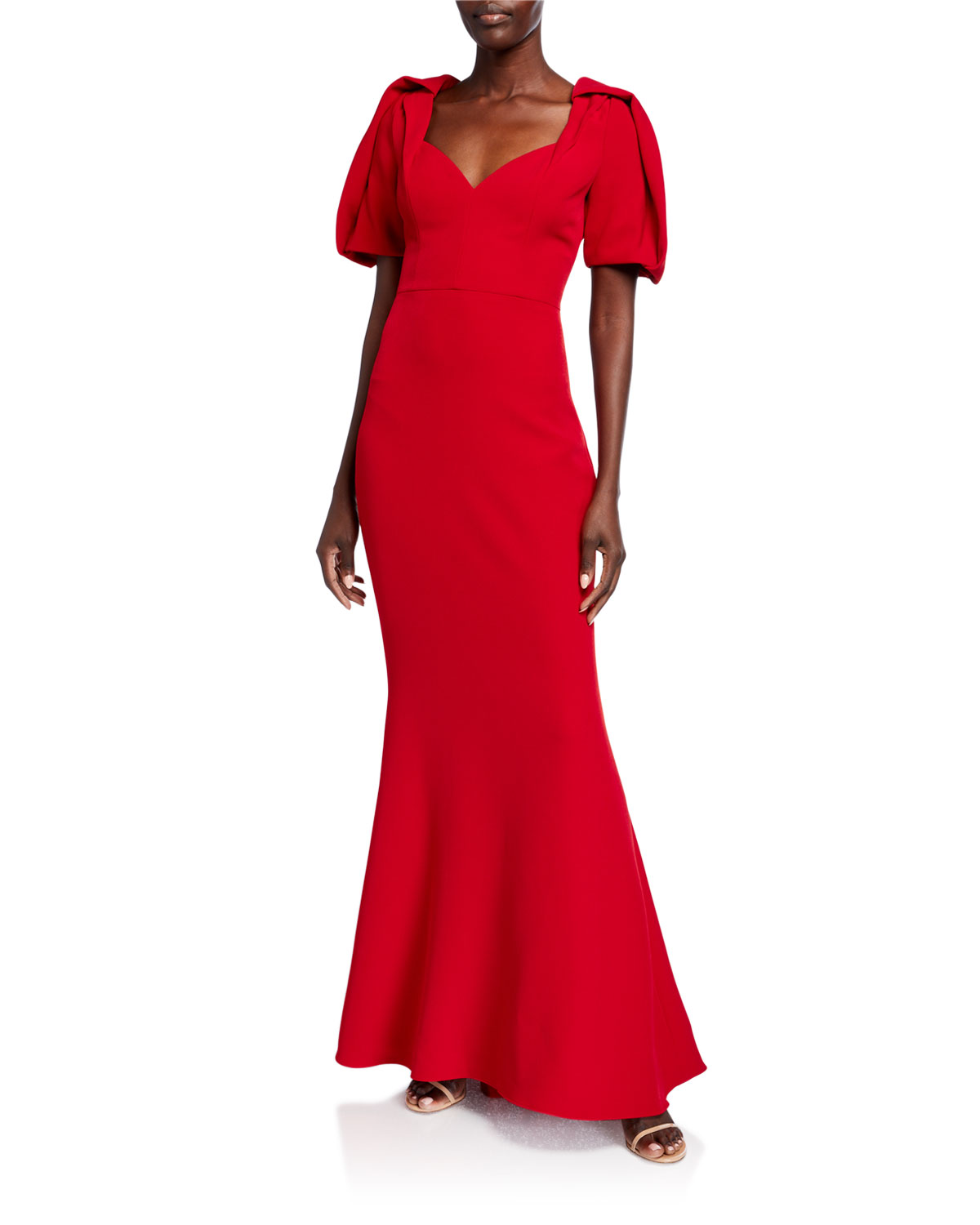 Badgley Mischka Collection Puff-Sleeve Sweetheart-Neck Mermaid Gown