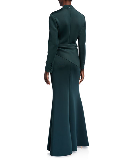 Image 2 of 2: Badgley Mischka Collection Long-Sleeve Drape Waist Scuba Gown