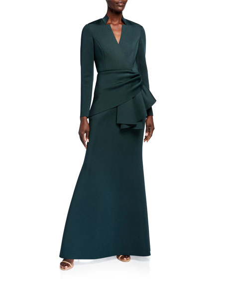 Image 1 of 2: Badgley Mischka Collection Long-Sleeve Drape Waist Scuba Gown