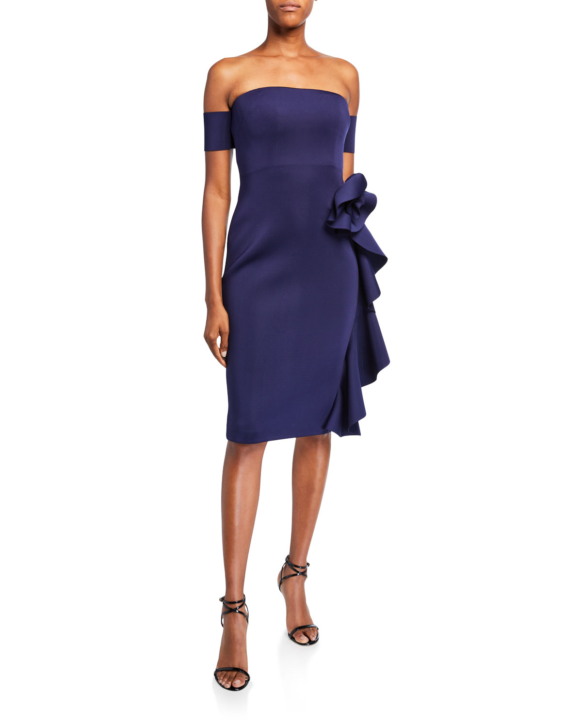 Off The Shoulder Cocktail Dress W/ Cascading Hip Flower by Badgley Mischka Collection