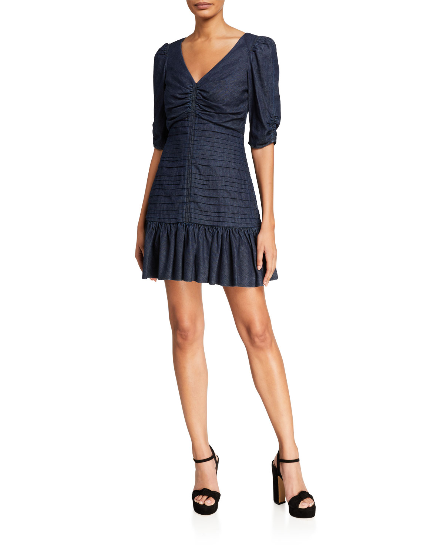Tanya Taylor Pansy Ruched Denim Flounce Dress