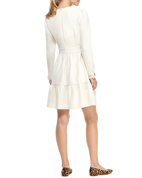 Gal Meets Glam Collection Box Weave Crepe Fit-&-Flare Dress with Ruffle Detail