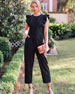 Gal Meets Glam Collection Solid Cotton Jumpsuit with Ruffle Detail